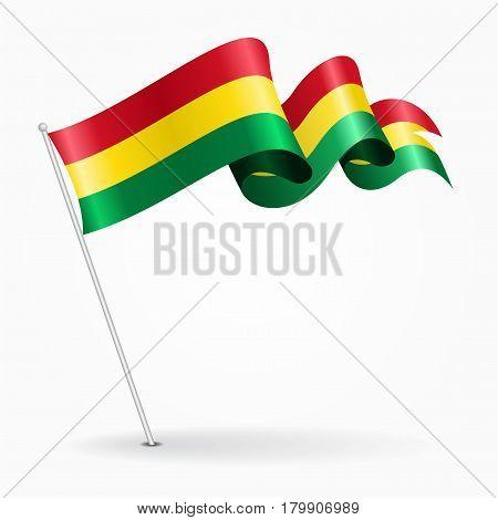 Bolivian pin icon wavy flag. Vector illustration.