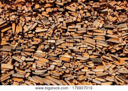 Fuel wood background/ Fold up fuel wood in woodshed.
