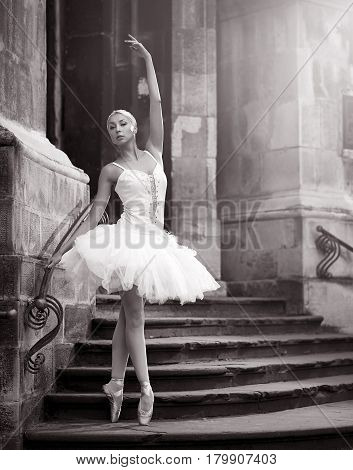 Epitome of grace and elegance. Monochrome shot of a young ballerina posing en pointe on the stairs of an old castle