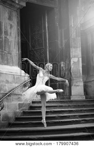 She makes it look so easy. Gorgeous ballerina performing outdoors monochrome portrait