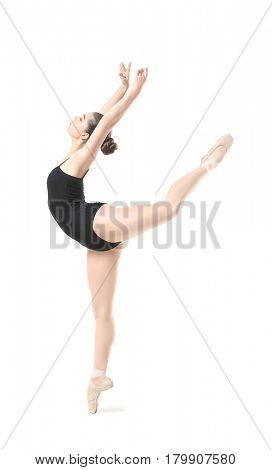 Young beautiful ballerina dancing on white background