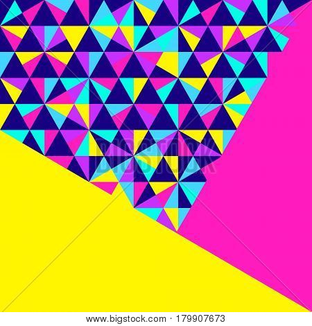 Abstract geometric background different geometric shapes - triangles circles dots lines. Memphis style. Bright and colorful neon colors funky 90s style. Vector illustration.