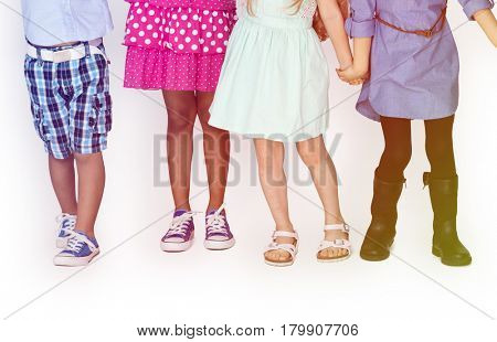 Group of Kids Standing In The Row
