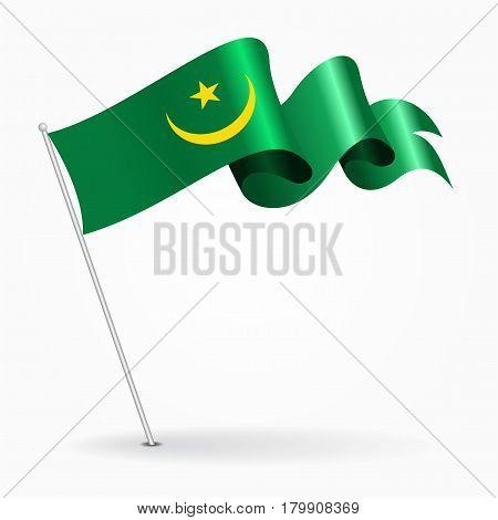 Mauritanian pin icon wavy flag. Vector illustration.
