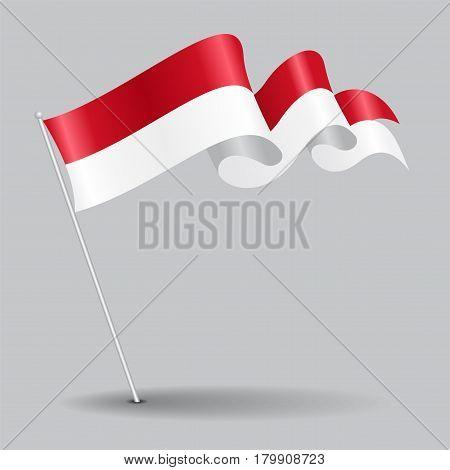 Indonesian pin icon wavy flag. Vector illustration.