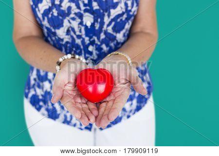 Human Hand Holding Heart Love Romance Concept