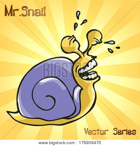 Mr. Snail with smiling. vector illustration EPS10
