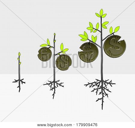 Growth of income taxes and inflation in the form of a money tree with coins. On a stylized graphical background
