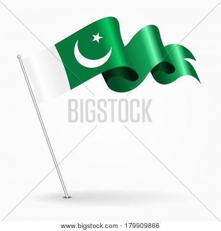 Pakistani pin icon wavy flag. Vector illustration.
