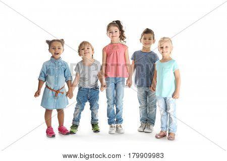 Cute little children on white background