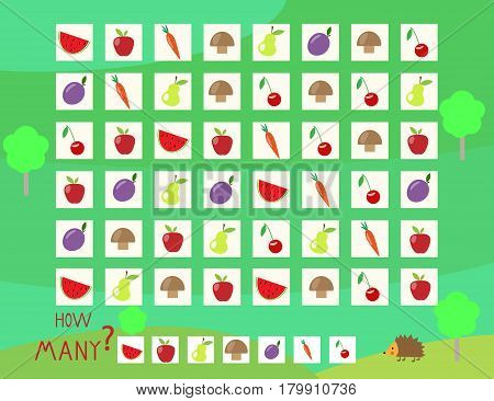 Riddle game help to count the bunny fruit vector