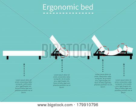 Ergonomic adjustable bed. Flat design. EPS 8 vector file.