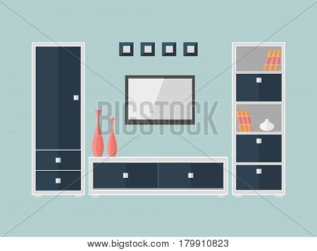 Interior of a living room with furniture box and TV. Modern flat design illustration.