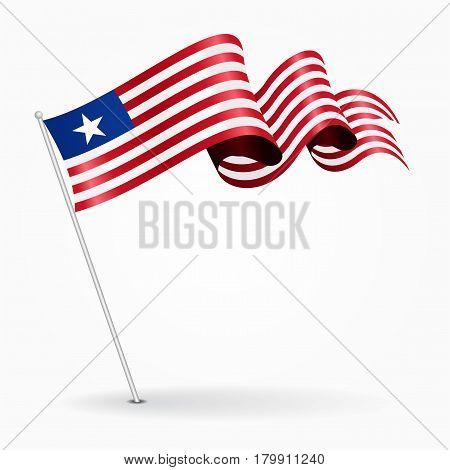 Liberian pin icon wavy flag. Vector illustration.