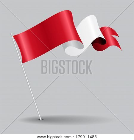 Peruvian pin icon wavy flag. Vector illustration.