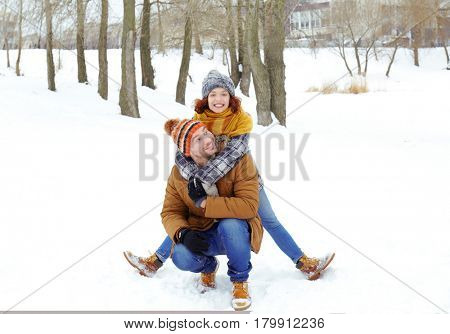 Lovely couple in winter park