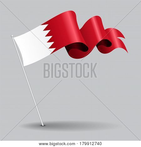 Bahrain pin icon wavy flag. Vector illustration.