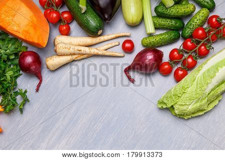Vegetables. Tomatoes, celery and cucumber. Chinese cabbage, parsley and onion. Pumpkin, zucchini and radish. Organic vegetables.