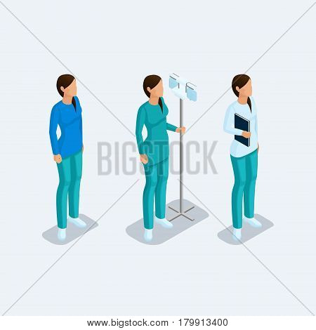 Set of isometric medical nurse workers in special clothes isolated over a light background. Vector illustration.