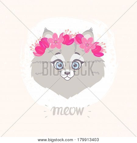 Cute and funny character cat with a floral wreath on head. Vector illustration