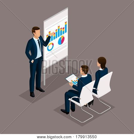 Business people isometric set of men and women coachers training people in business attire isolated on a dark background.