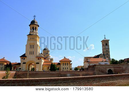 Medieval fortress Alba Iulia, Transylvania. The modern city is located near the site of the important Dacian political, economic and social centre of Apulon, which was mentioned by the ancient Greek geographer Ptolemy.