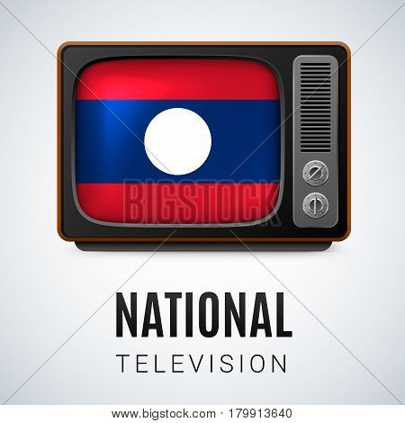 Vintage TV and Flag of Laos as Symbol National Television. TV Receiver with Laos flag