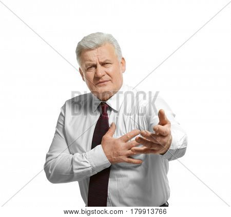 Man with chest pain suffering from heart attack on white background
