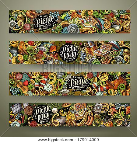 Cartoon colorful vector hand drawn doodles picnic theme corporate identity. 4 Horizontal banners design. Templates set