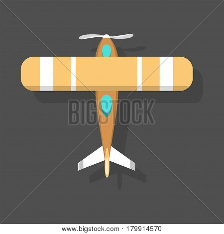 Vector orange airplane illustration plane top view passenger trip and aircraft transportation travel way to vacation sky design journey international object. Commercial tour speed aviation.