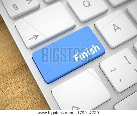 Finish Written on the Blue Button of Computer Keyboard. Computer Keyboard Key Showing the Message Finish. 3D Illustration.