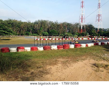 kart track competition race  leisure motion  adventure