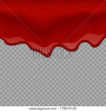 Vector drip red jam. Paint vector splash and splatter like strawberry syrup or ketchupon transparent Background.