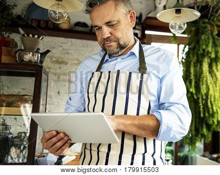Adult Man Hands Holding Tablet