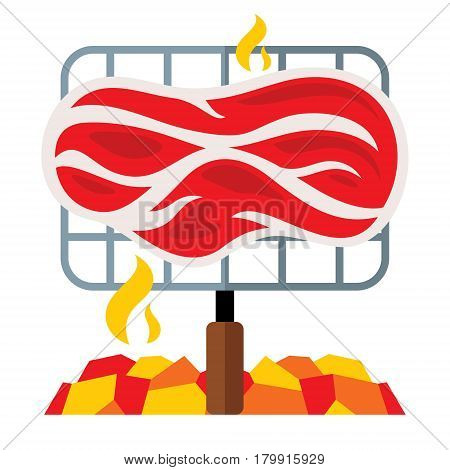 Piece of ham on hot coals. Isolated on a white background
