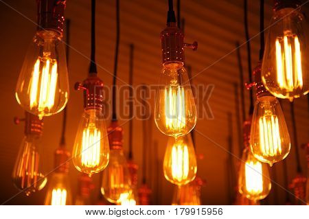 orange retro pattern light bulb lamp hanging background