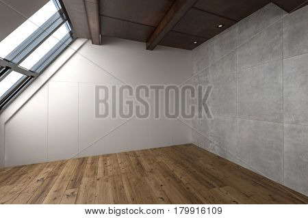 One large empty contemporary attic apartment with slanted windows and hardwood flooring. 3d Rendering