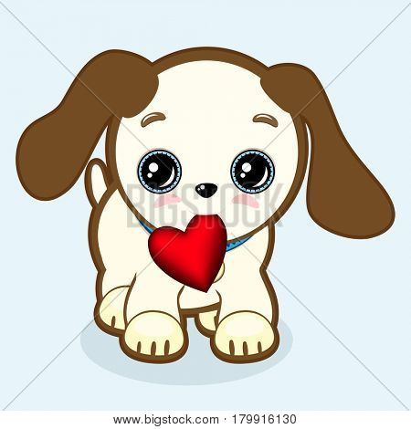 Cute puppy with expressive eyes and big ears holds a heart in his mouth. Little dog icon. Vet or pet shop symbol; 2018 year. Simple cartoon illustration.