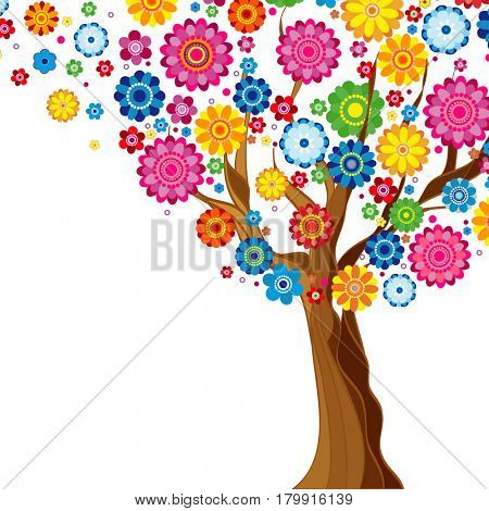 Flowers spring blooming tree on a white  background, floral illustration.