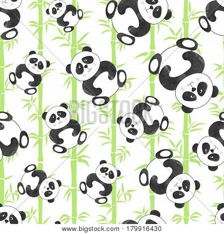 Seamless pattern with cute cartoon panda bears and bamboo. Vector illustration.