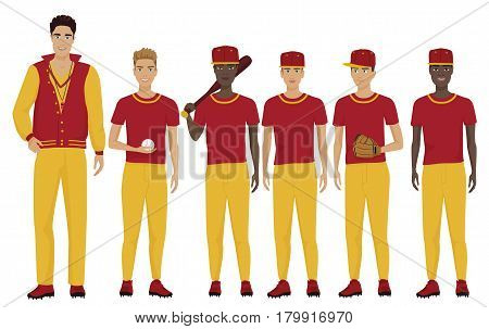 Vector illustration of the young baseball players team with coach trainer wearing the uniform