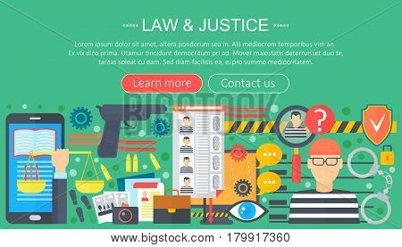 Law and justice design concept with prisoner and gun infographics template design, web header elements, poster banner. Crime Vector illustration