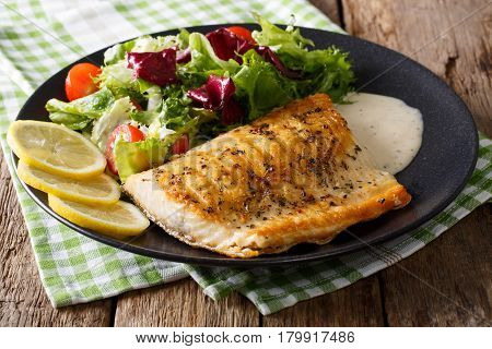 Grilled Char Fillet With Mixed Salad And Sauce On A Plate Close-up. Horizontal