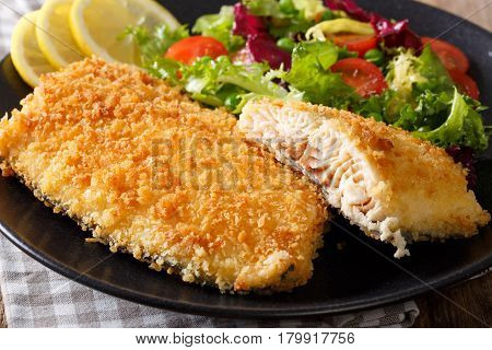 Fried Arctic Char Fish Fillet In Breadcrumbs And Fresh Vegetable Salad Close-up. Horizontal