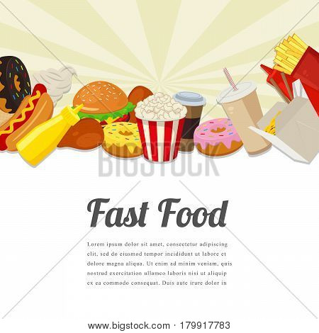 Fast food card design. Food background with colorful fast food meal. Tasty food concept. Vector illustration