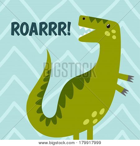 Funny dinosaur is roaring. Cute print for t-shirt and textile design. Vector illustration