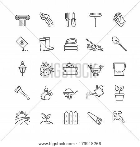 Icons set - gardening, tools, flowers, vegetables for your design