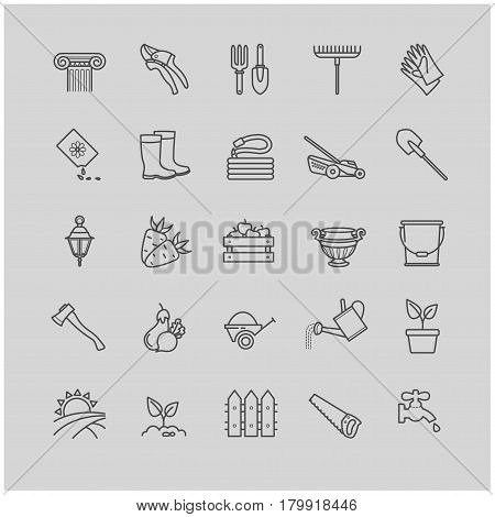 Outline icons set - gardening, tools, flowers for your design