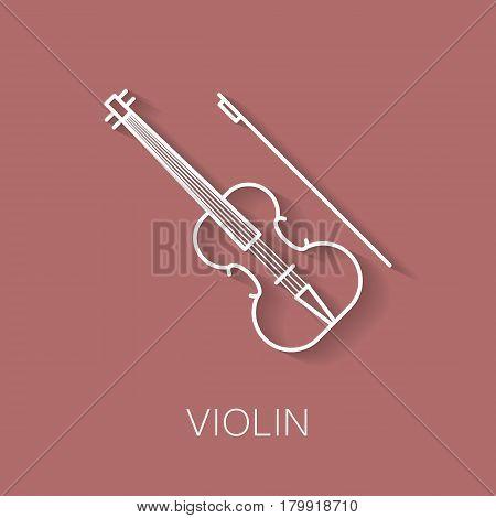 Music instrument retro line icon. Violin shape. Classic musical object. Vector decorative design background. Magazine cover. Marketing concept