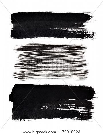 Set of black brush strokes isolated on the white background. Elements for your design and space for text
